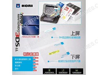 Hori Anti-Scratch Film Skin Tempered Glass Screen Protector Set Clear for New 3DS XL/LL (A Grade)